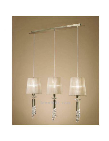 Lámpara de techo 3 pantallas Cuero Tiffany Mantra