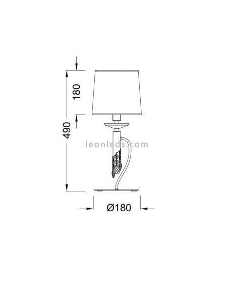 Dimensiones Lámpara de mesa de noche clásica tiffany