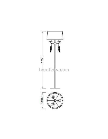 Dimensiones Lámpara de pie clásica tiffany