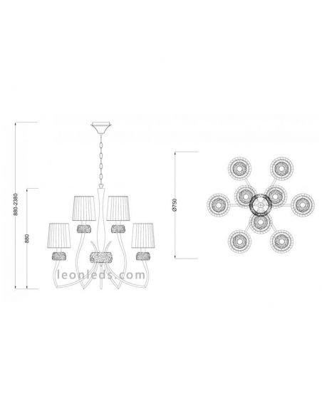 Dimensiones Lámpara de techo Clásica Loewe grande 4730 4630