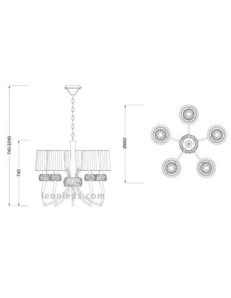 Dimensiones de Lámpara de techo 5 Luces Loewe
