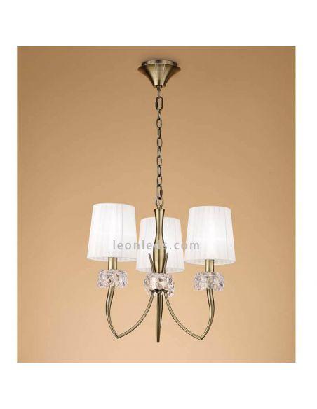 Lámpara de techo 3 Pantallas cuero
