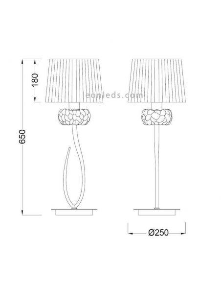 Dimensiones Lámpara de sobremesa Loewe