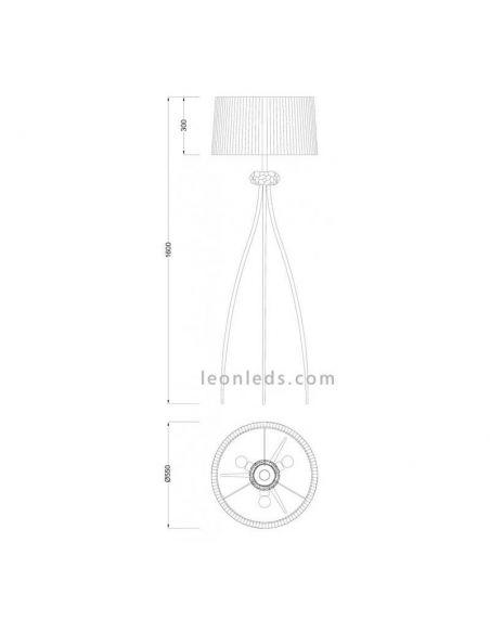 Dimensiones Lámpara de pie 3 patas