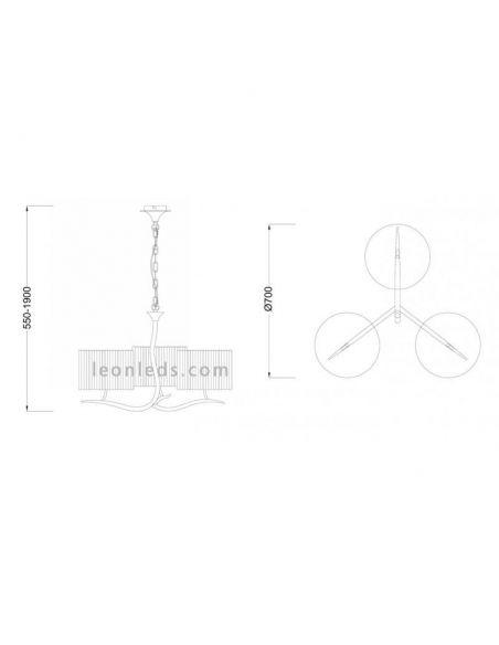 Dimensiones de Lámpara de techo Antracita Eve de Mantra 1151