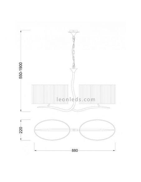 Dimensiones Lámpara de techo 2 pantallas negras eve