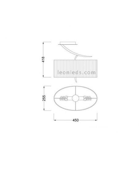Dimensiones Plafón Ovalado antracita Eve 1152