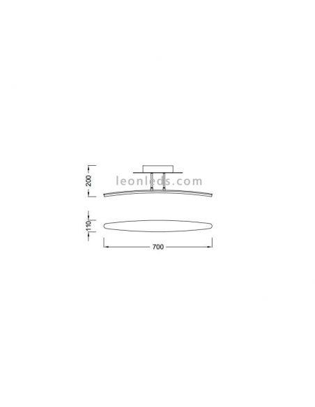 Dimensiones Plafón LED Hemisferic Mantra 4083 | LeonLeds Iluminación