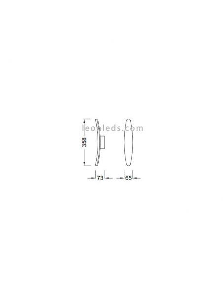 Dimensiones Aplique LED Aluminio Hemisferic 4084 | LeonLeds Iluminación