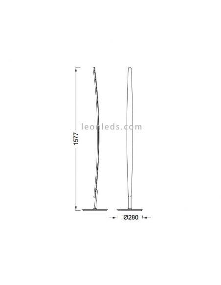 Dimensiones de Lámpara de pie LED Hemisferic 20W 4086 | LeonLeds Iluminación