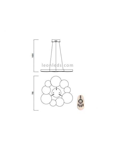 Dimensiones lámpara de techo LED 76W Lunas 5760 | LeonLeds Iluminación