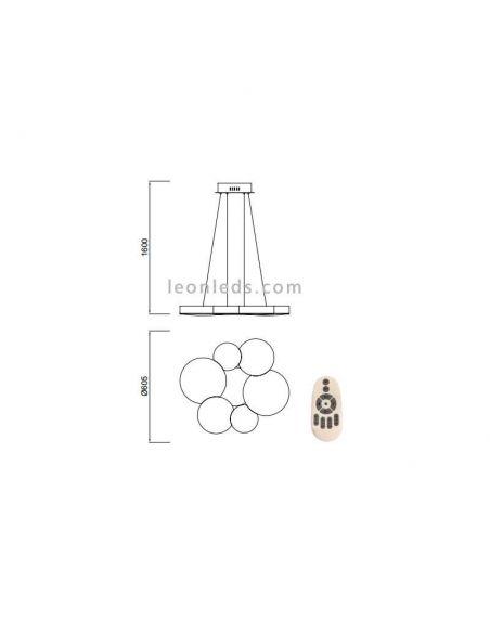 Dimensiones Lámpara de techo LED Lunas