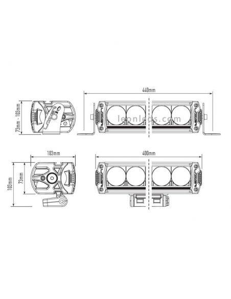 Dimensiones Barra LED Triple R 1000 con luz de posición 9-32V 90W 45Cm