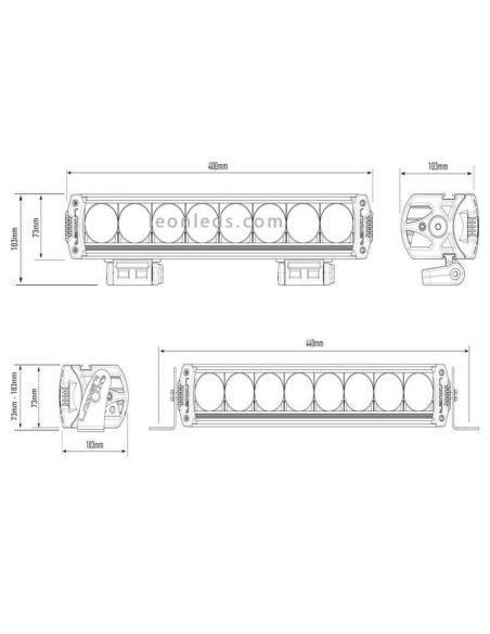 Dimensiones barra LED Lazer Triple R-8 1000 90W 45Cm