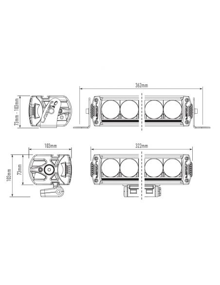 Dimensiones de Barra LED Lazer Triple R-6 850