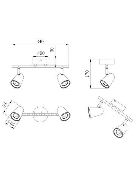Dimensiones Regleta de 2 Focos LED orientable Toulouse Trio Lighting