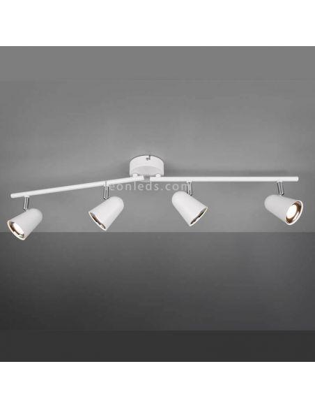 Regleta con 4 Focos LED blanca orientable Toulouse Trio Lighting | LeonLeds Iluminación