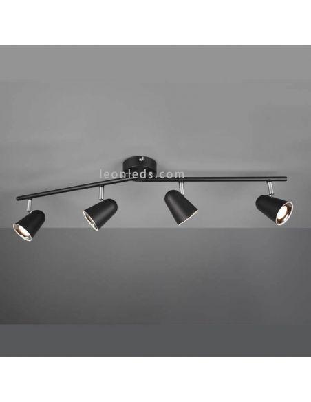 Regleta con 4 focos LED negra de Trio Lighting | LeonLeds Iluminación