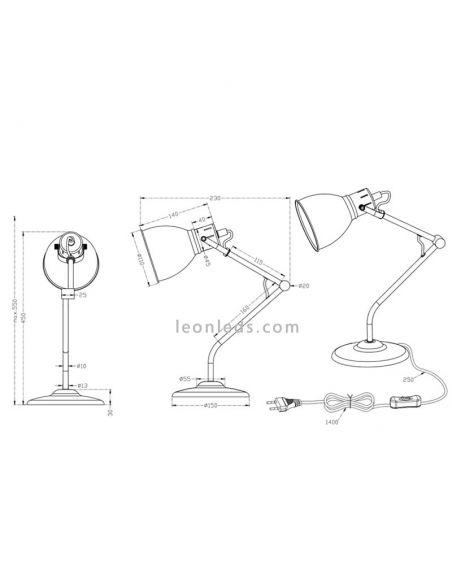 Lámpara de sobremesa bronce Jasper de la marca trio Lighting 500500109 | LeonLeds Iluminación