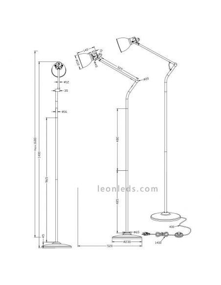 Dimensiones de Lámpara de pie Bronce Jasper de Trio Lighting | LeonLeds Iluminación