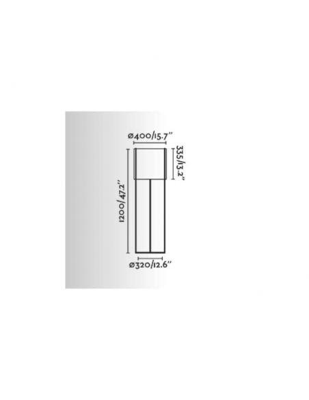 Dimensiones Lámpara de pie Drum Antracita y Negra Faro Barcelona | LeonLeds