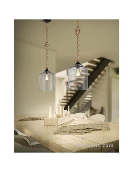 Lámpara de techo Cuerda de Cañamo y Pantalla de Cristal Vintage 1XE27 altura 150Cm Judith 302900102 | LeonLeds Iluminación