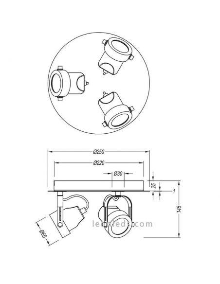 Dimensiones Regleta 3 focos circular GU10 de la colección Goa de Trio Lighting | LeonLeds Iluminación