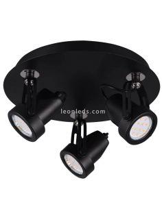 Regleta 3 focos circular GU10 negra Goa de la firma Trio Lighting | LeonLeds Iluminación