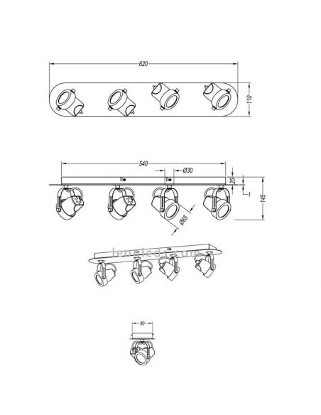 Dimensiones Regleta moderna de 4 focos GU10 blanca Goa de Trio Lighting | LeonLeds Iluminación
