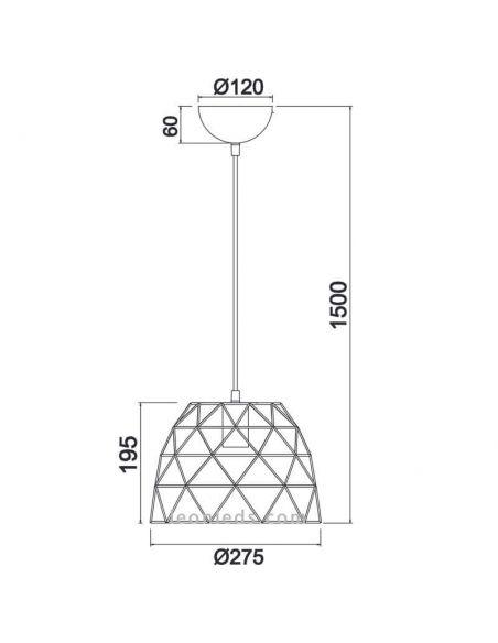 Dimensiones Lámpara de techo alambre negro Haval Trio Lighting   LeonLeds Iluminación