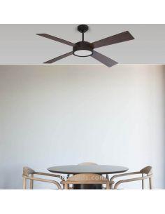 Ventilador de techo LED Hydra Negro y Nogal Faro Barcelona | LeonLeds Iluminación