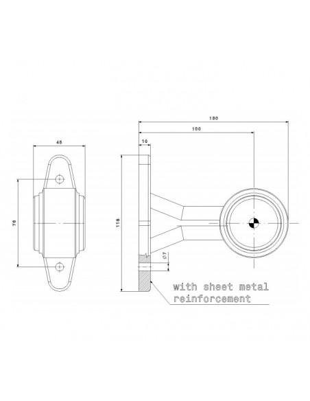 Dimensiones Cuerno LED Largo FT-009 B - 2 Funciones Fristom | LeonLeds Iluminación