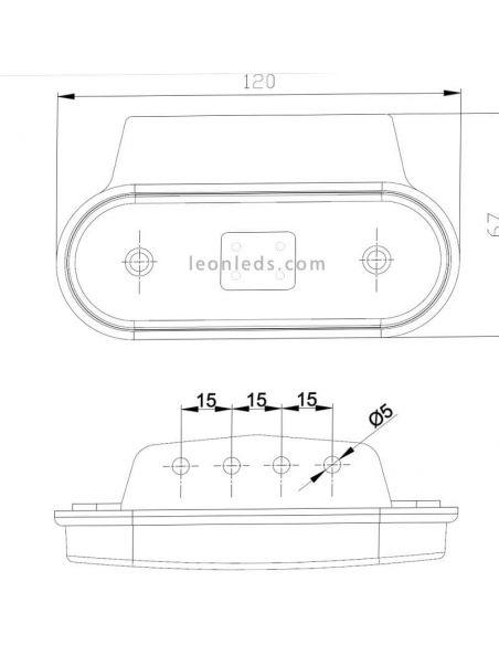 Dimensiones Piloto LED Fristom FT-020 con soporte | LeonLeds Iluminación