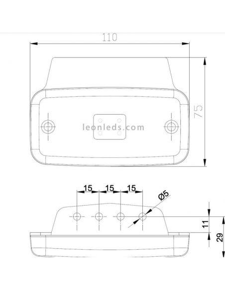 Dimensiones Piloto LED Fristom FT-019 | LeonLeds Iluminación