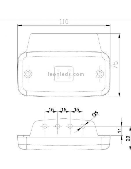 Dimensiones Fristom FT-019 con soporte | LeonLeds Iluminación