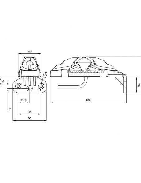 Dimensiones Fristom FT038 con soporte | LeonLeds Iluminacion