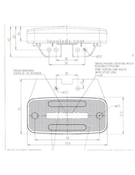 Dimensiones Piloto LED Was W157 con efecto Neon 1 linea | LeonLeds Iluminación