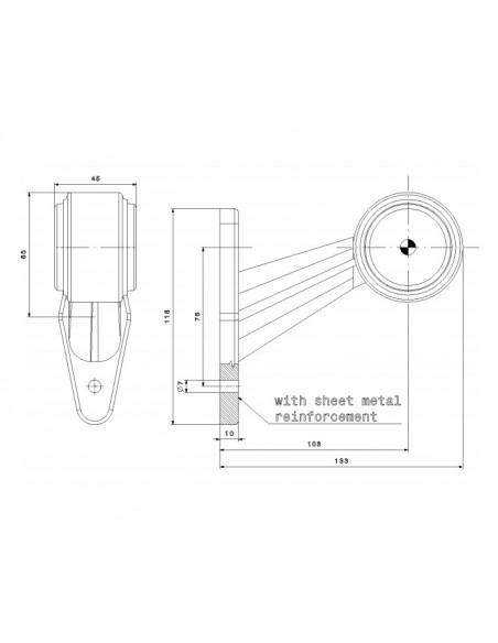 Dimensiones Cuerno LED Diagonal Corto FT-009 C - 2 Funciones Fristom | LeonLeds Iluminación
