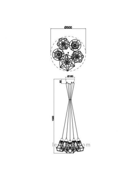 Dimensiones Lámpara de techo alambre negro 5 pantallas Meike de Trio Lighting | LeonLeds Iluminación