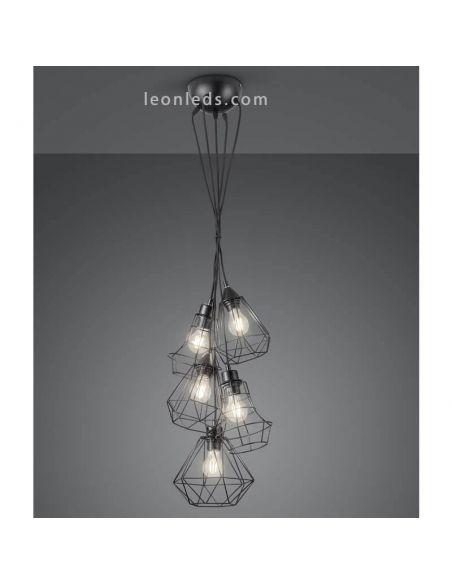 Lámpara de techo alambre negro 5 pantallas Meike de Trio Lighting | LeonLeds Iluminación