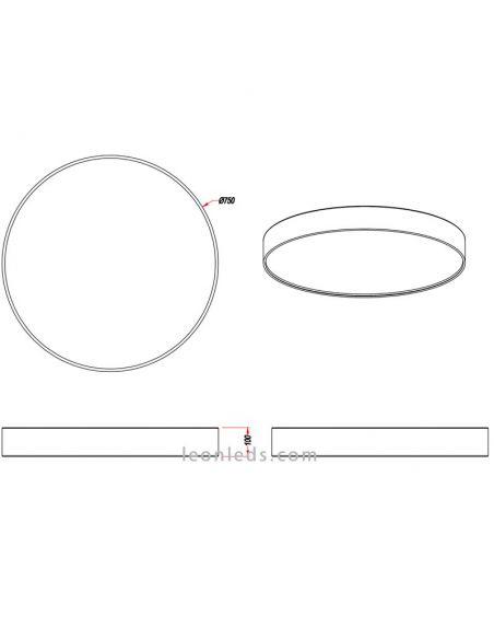 Dimensiones plafón LED textil Lugano con mando Trio Lighting | LeonLeds Iluminación