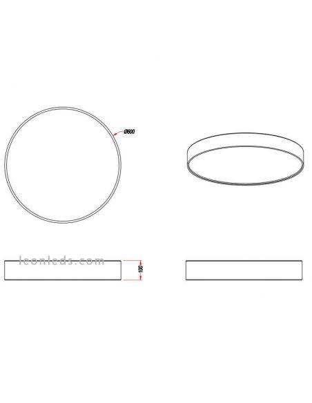 Dimensiones Plafón LED textil lugano de Trio Lighting mediano | LeonLeds Iluminación