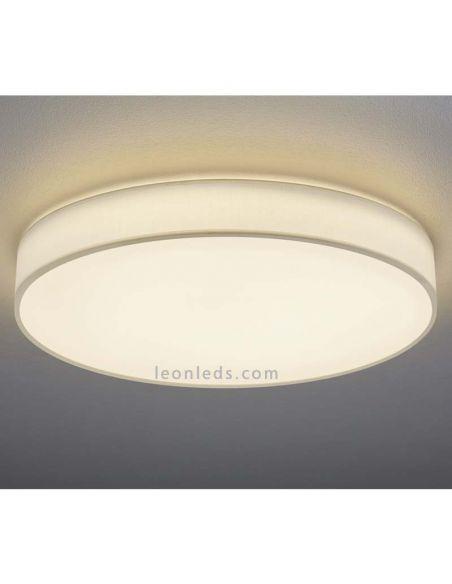 Plafón LED textil Lugano 40W blanco con mando a distancia de Trio Lighting 621914001 | LeonLeds Iluminación