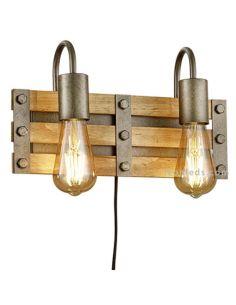 Aplique 2 luces de madera con enchufe e interruptor Khan | LeonLeds Iluminación