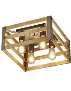 Plafón de madera Vintage Khan de Trio Lighting | LeonLeds Iluminación