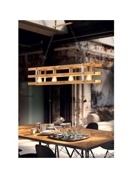Lámpara de techo madera natural Khan de Trio Lighting | LeonLeds Iluminación