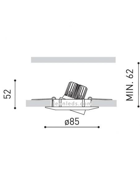 Dimensiones Foco empotrable orientable LED DOT Tilt | LeonLeds Iluminación