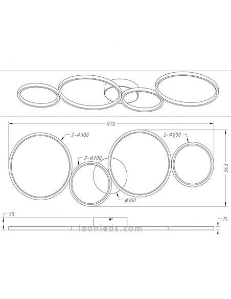 Dimensiones Plafón LED moderno grande Rondo de Trio Lighting | LeonLeds Iluminación