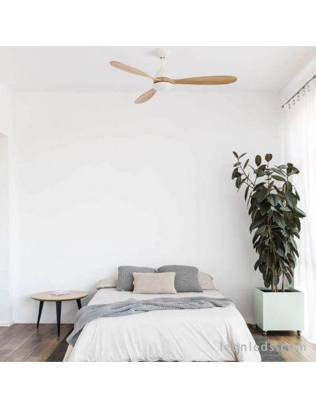 Ventilador de techo LED Blanco y Madera Poros   LeonLeds Iluminación