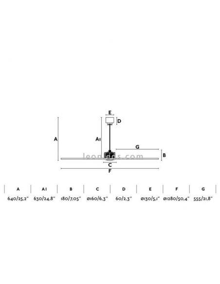 Dimensiones de techo Justfan 33418 | LeonLeds Iluminación
